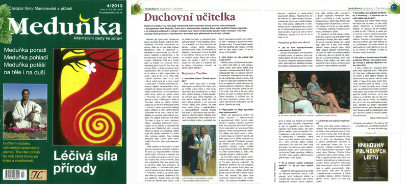 Cover feature interview in leading Czech Republic spiritual magazine Medunka